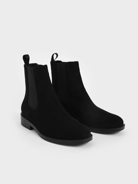 Textured Round Toe Chelsea Boots, Black Textured, hi-res