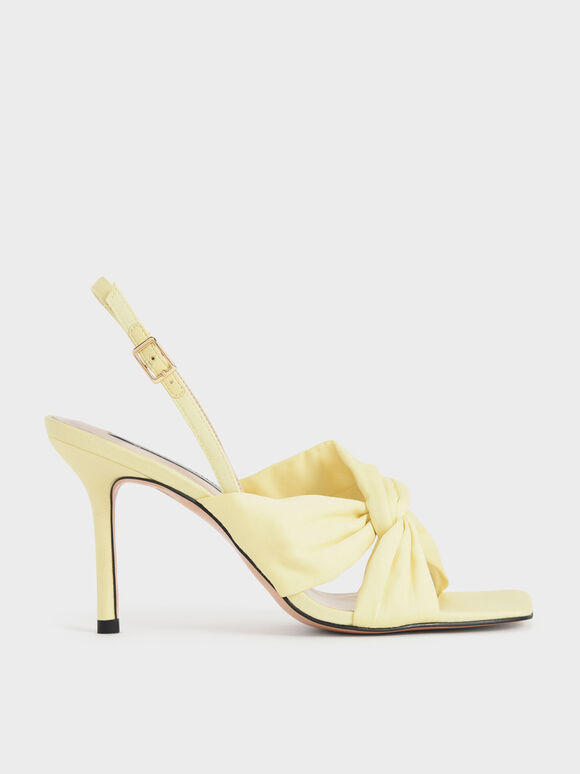 Cotton Knotted Slingback Sandals, Yellow, hi-res