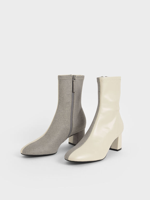 Two-Tone Block Heel Ankle Boots, Light Grey, hi-res