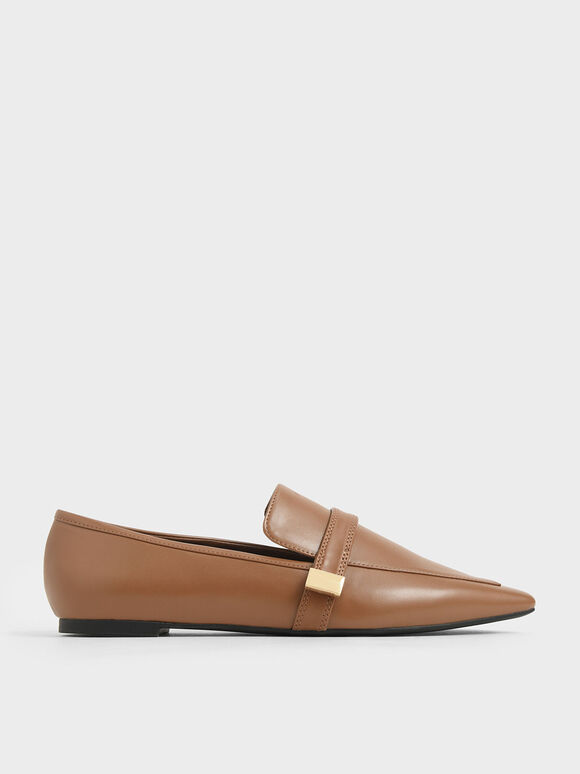 Metal Accent Loafers, Brown, hi-res