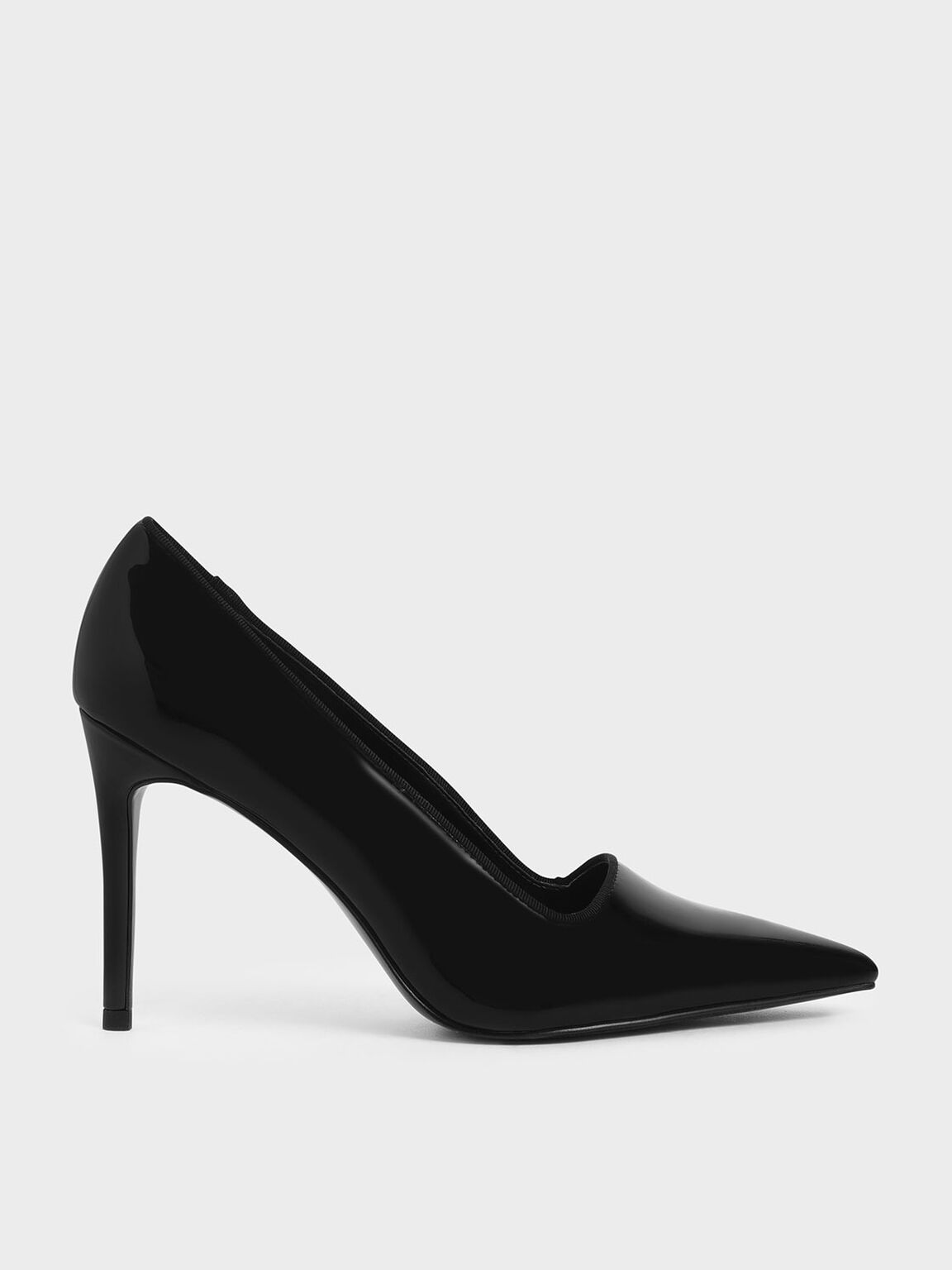 Patent Stiletto Pumps, Black, hi-res