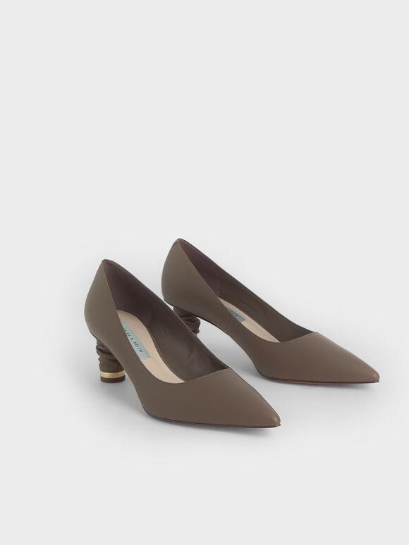 Cylindrical Heel Pointed Toe Pumps, Dark Brown, hi-res