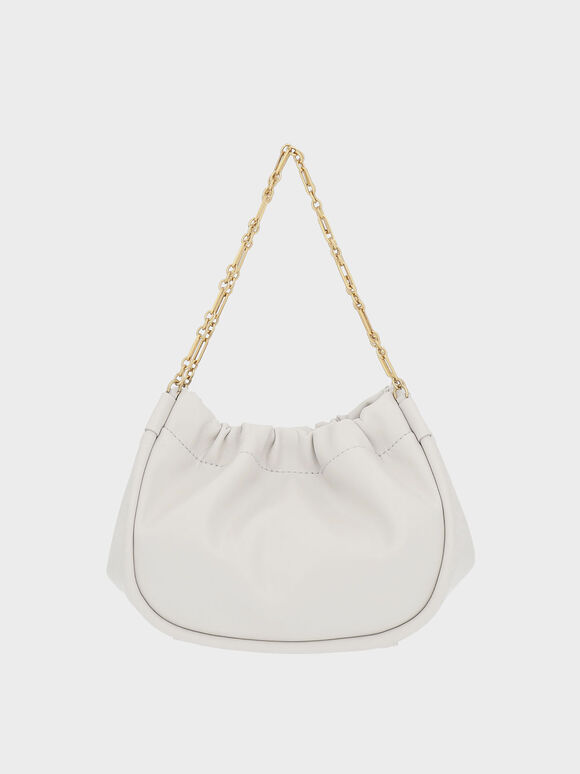 Double Chain Handle Slouchy Bag, Light Grey, hi-res