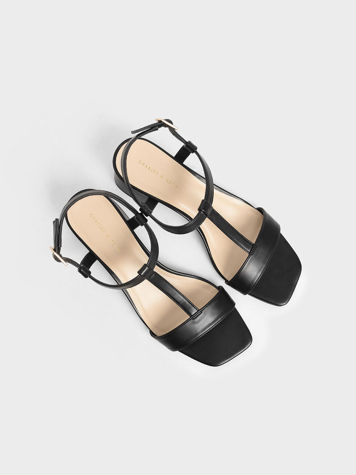 T-Bar Block Heel Sandals, Black, hi-res