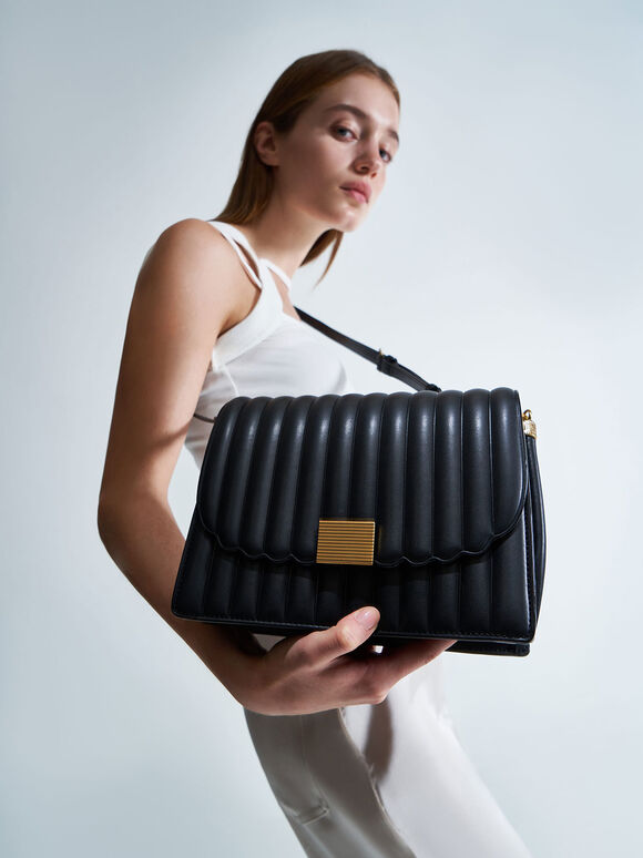 Panelled Chain Handle Bag, Black, hi-res