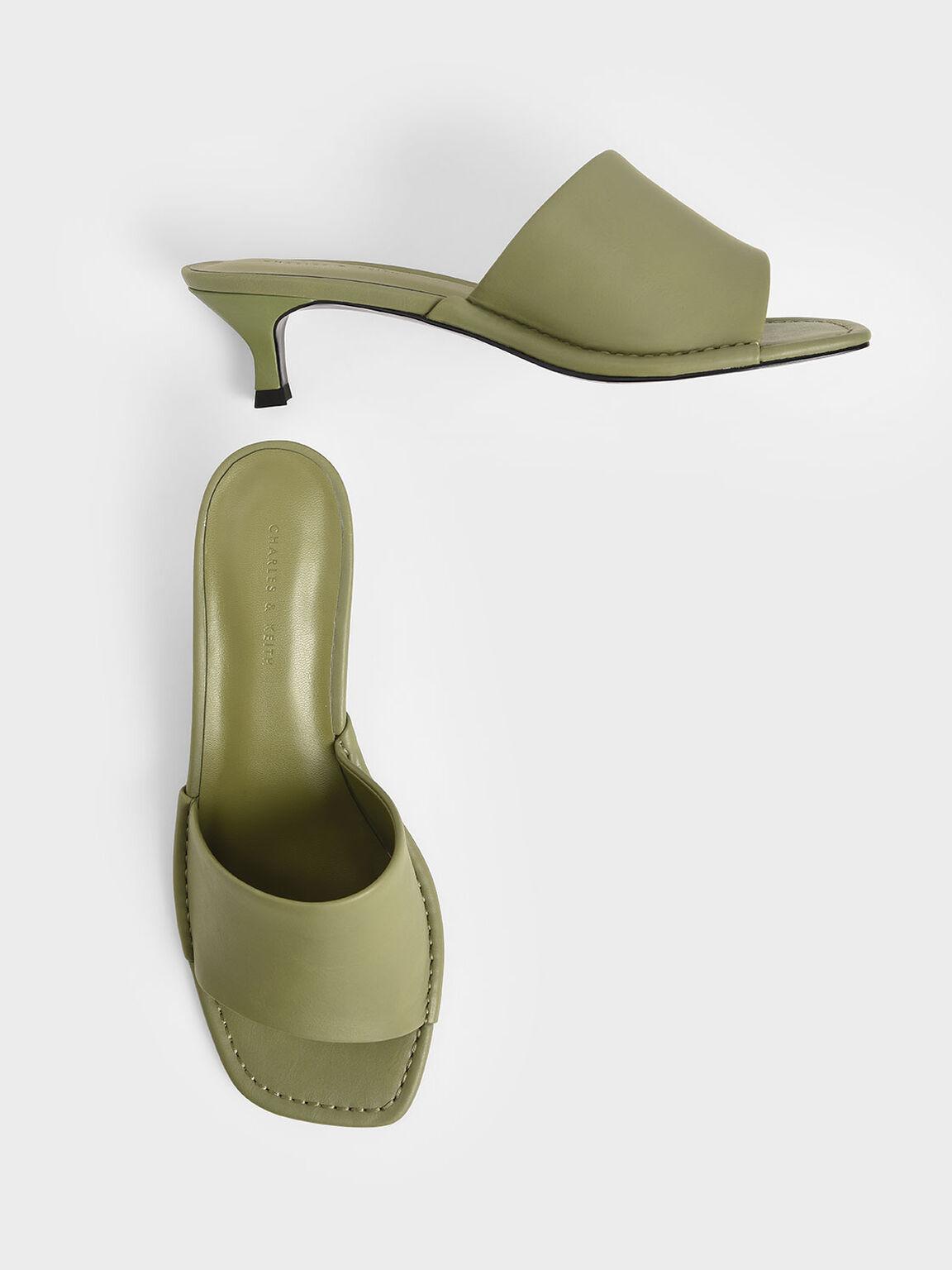 Asymmetric Strap Mules, Green, hi-res