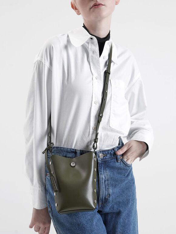 Mini Reversible Studded Crossbody Bag, Olive, hi-res