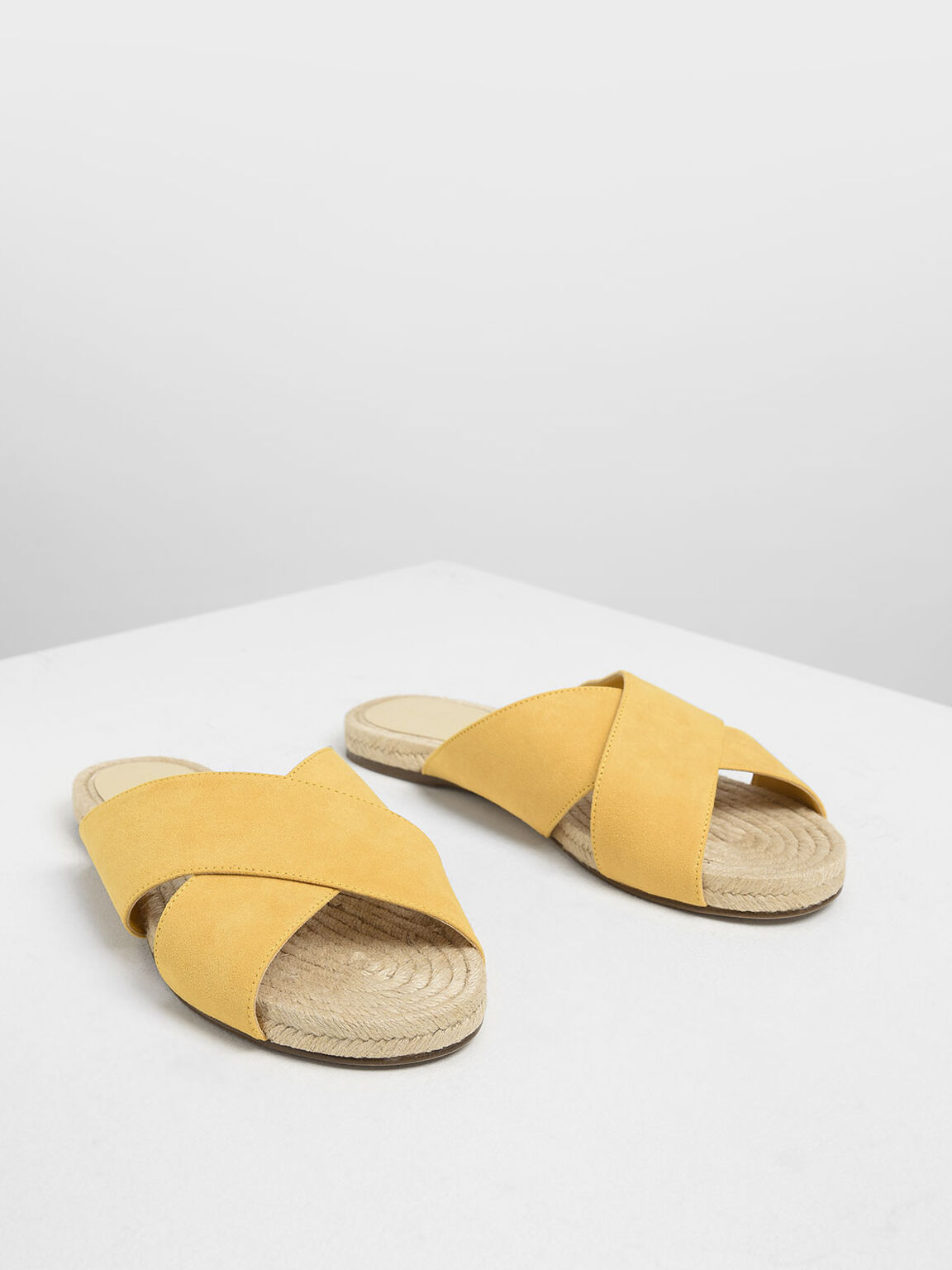 Criss Cross Slide Sandals, Yellow, hi-res