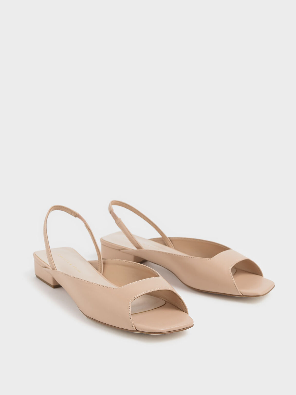Square Toe Mini Block Heel Slingback Sandals, Nude, hi-res