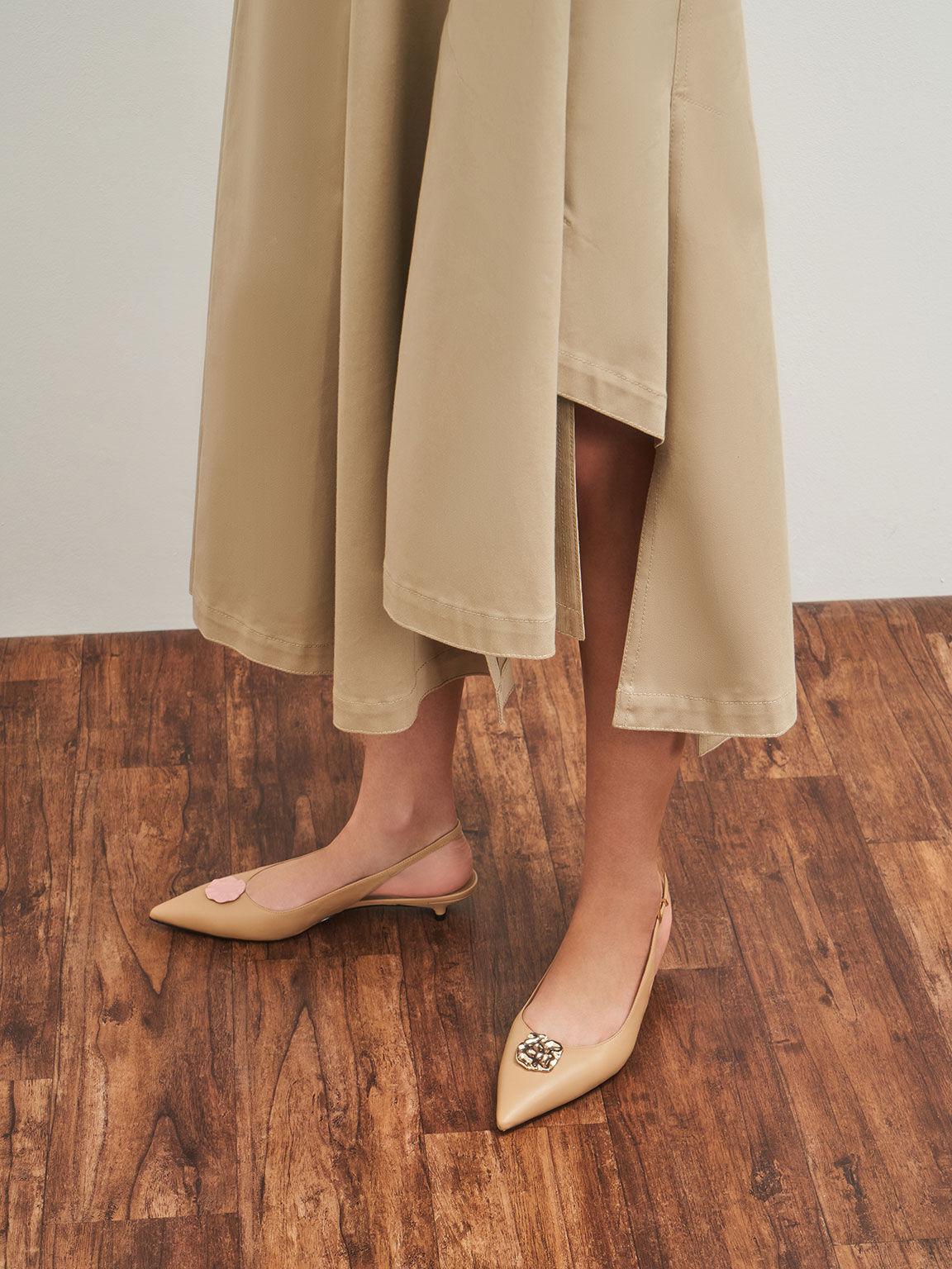Leather Embellished Slingback Ballerinas, Nude, hi-res