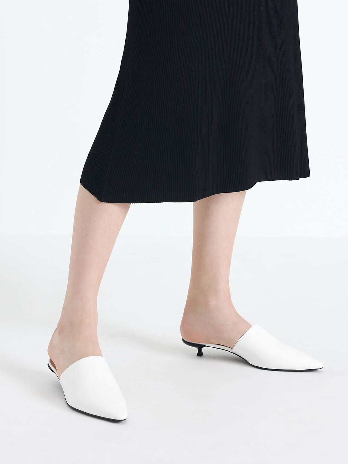 Kitten Heel Mules, White, hi-res