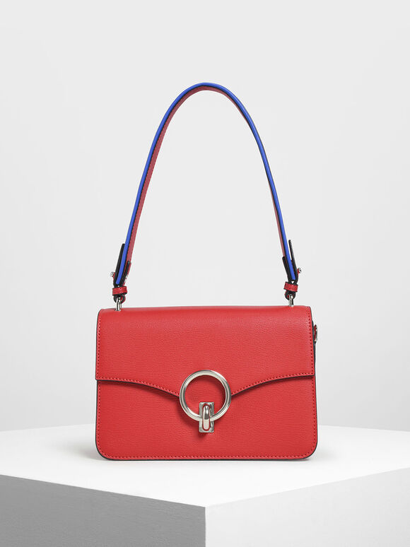 Chain Link Shoulder Bag, Red, hi-res