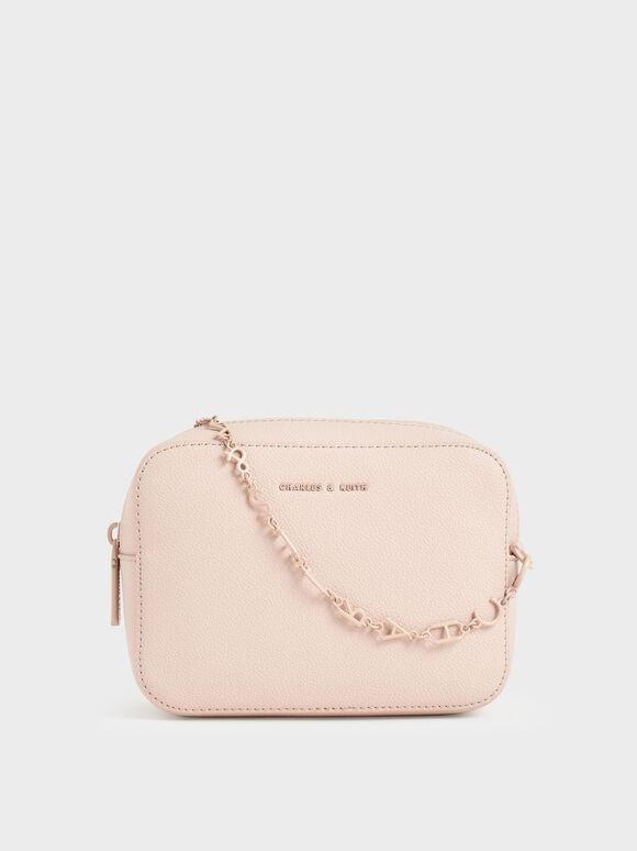 Chain Link Boxy Clutch, Light Pink, hi-res