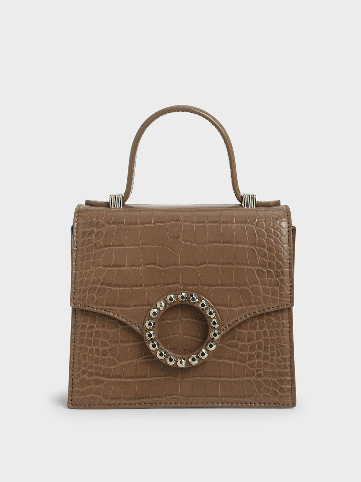 Croc-Effect Embellished-Buckle Bag, Brown, hi-res