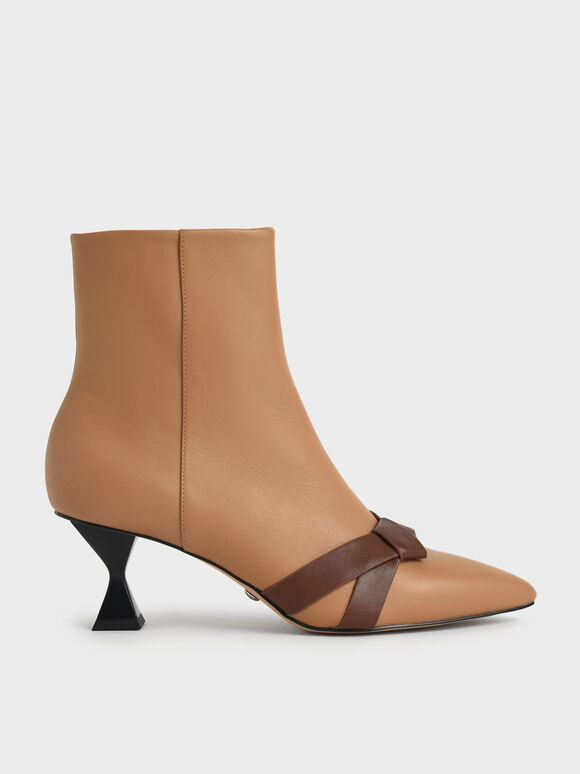 Leather Knotted Ankle Boots, Caramel, hi-res