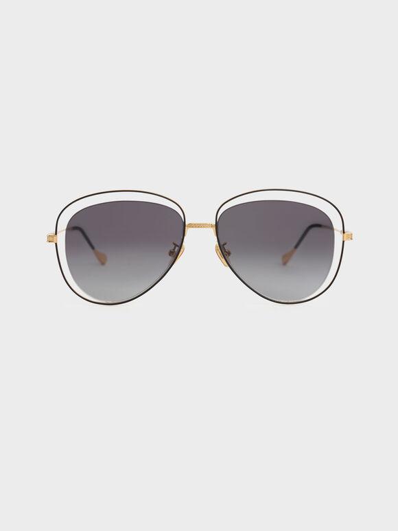 Cut-Out Aviator Sunglasses, Black, hi-res