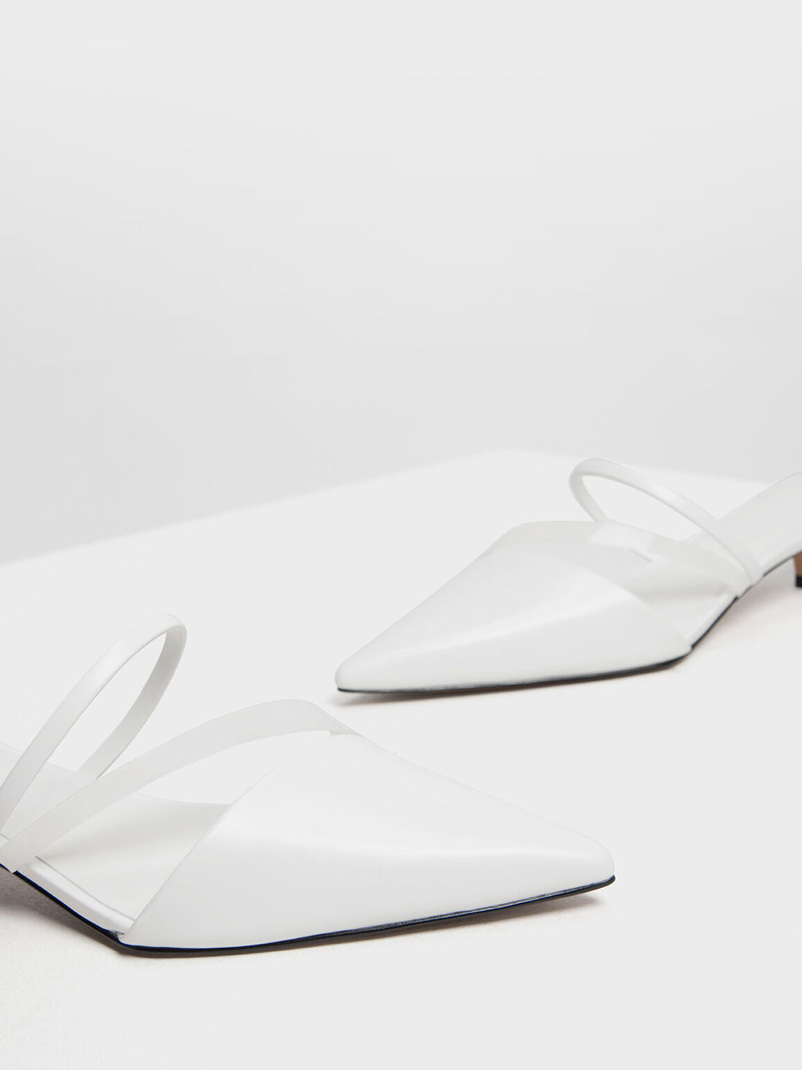 Asymmetrical Kitten Heel Mules, White, hi-res