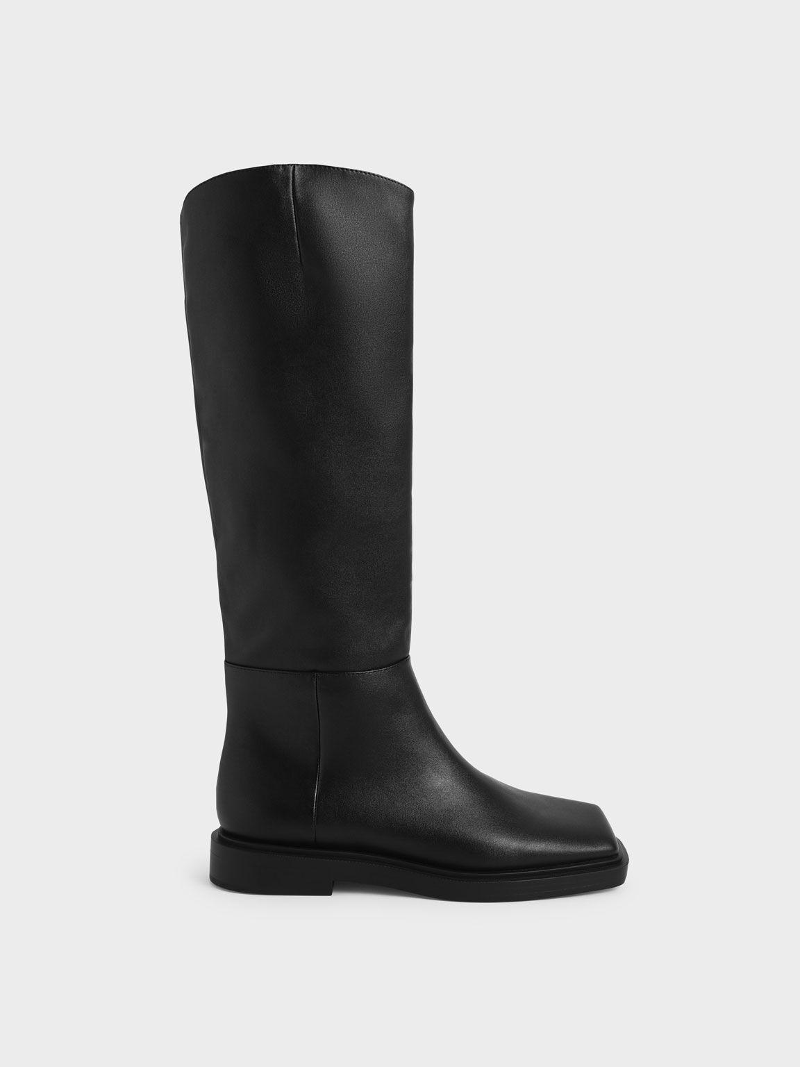 Square Toe Knee High Boots, Black, hi-res