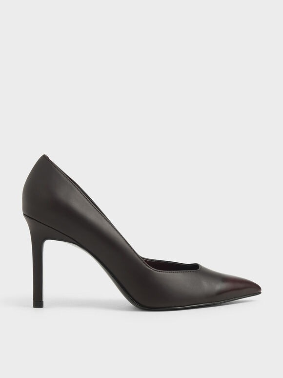 Brushed Effect Stiletto Pumps, Burgundy, hi-res
