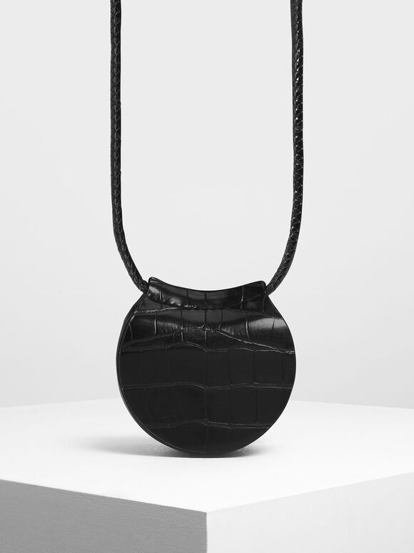 Croc-Effect Necklace Bag, Black, hi-res