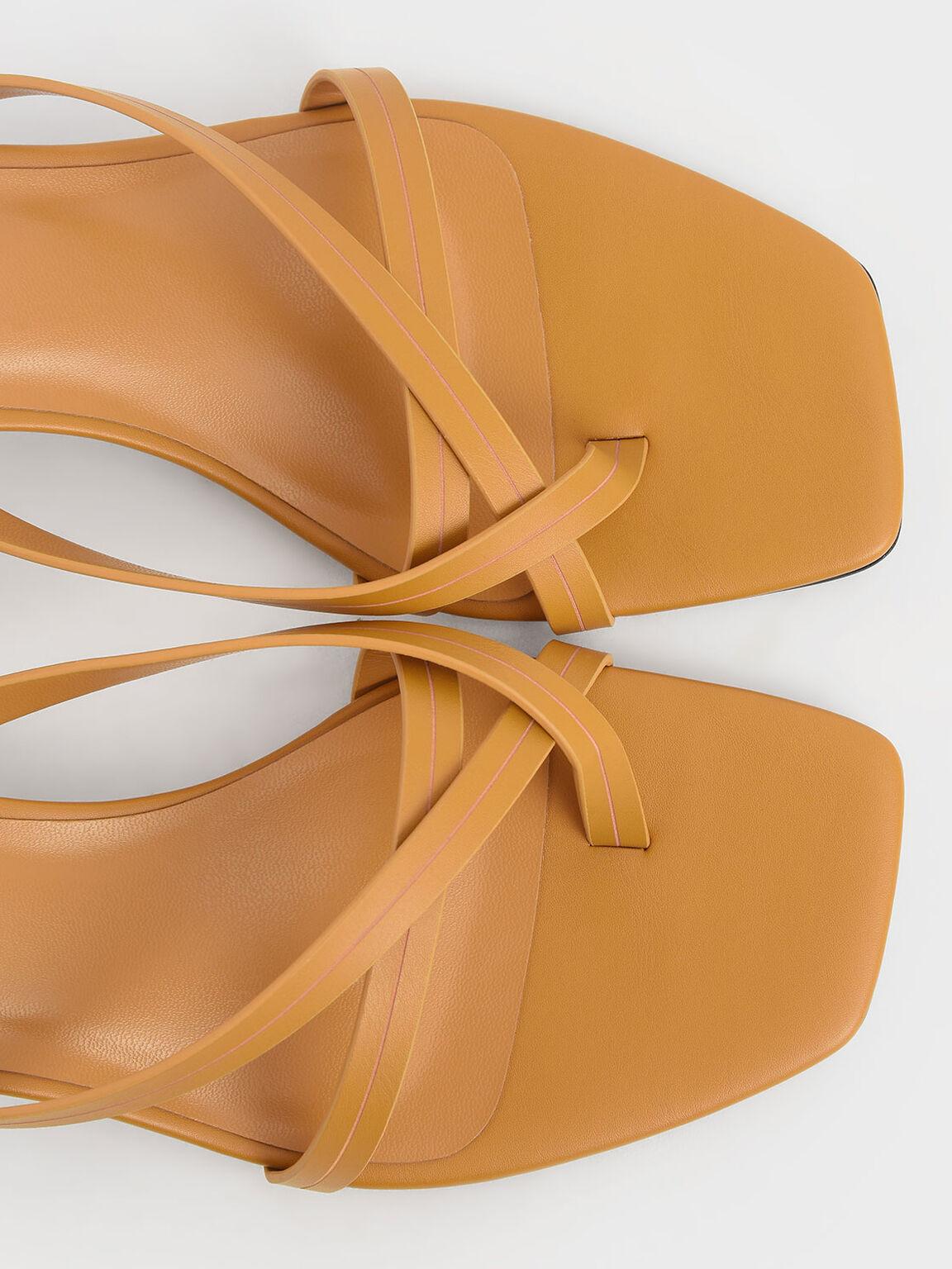 Strappy Toe Loop Heeled Sandals, Mustard, hi-res