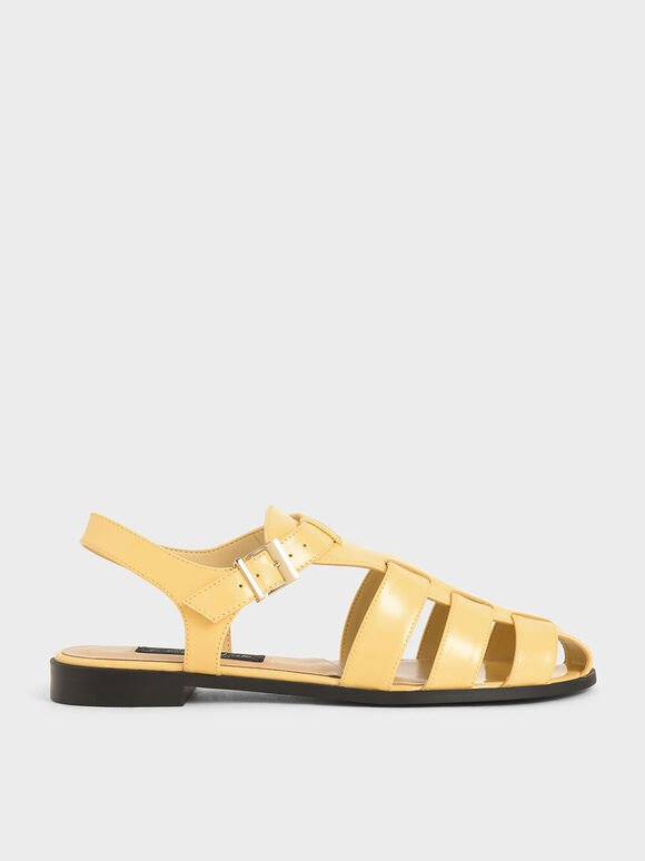 Patent Leather Caged Sandals, Yellow, hi-res