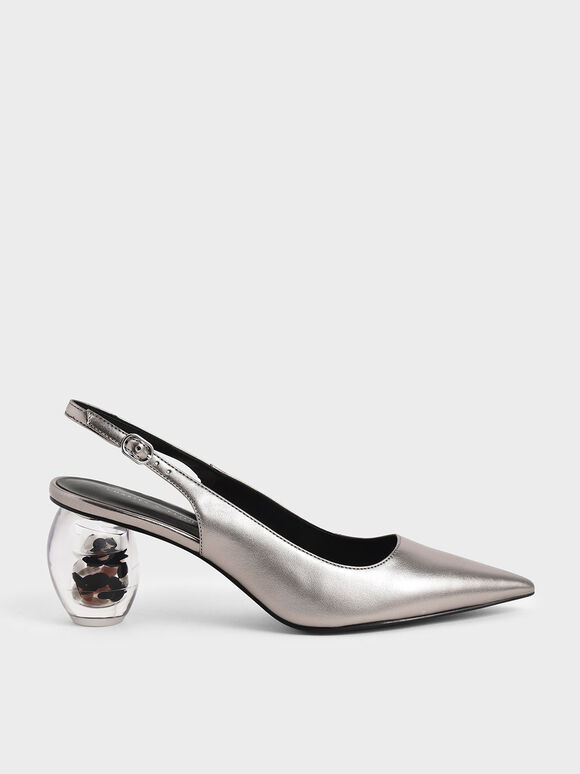 Metallic Sculptural Heel Slingback Court Shoes, Pewter, hi-res