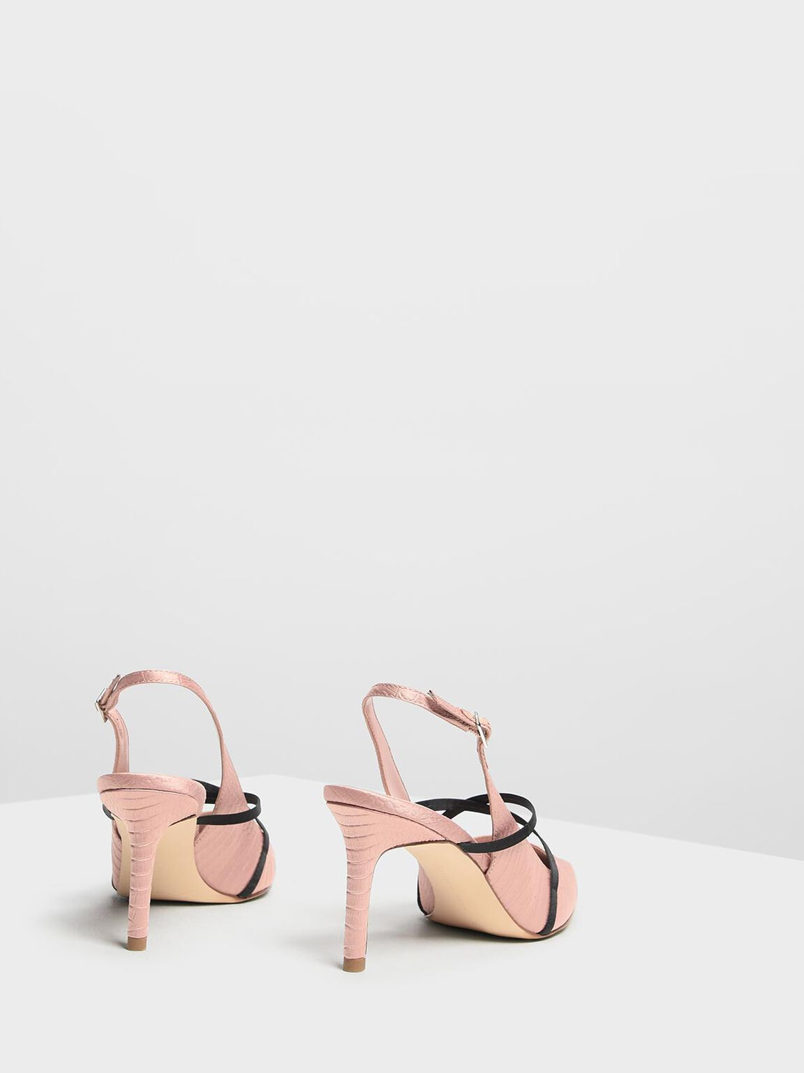 Criss Cross Embossed Slingbacks, Nude, hi-res