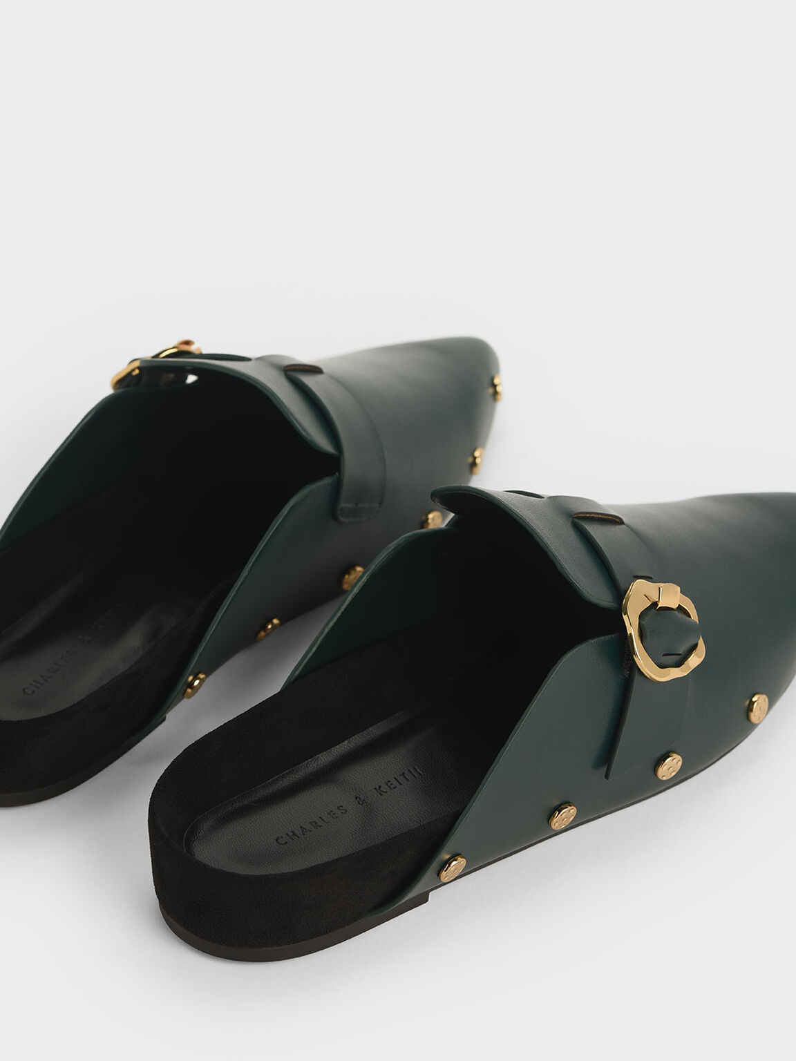 Hammered Buckle Stud Trim Mules, Dark Green, hi-res