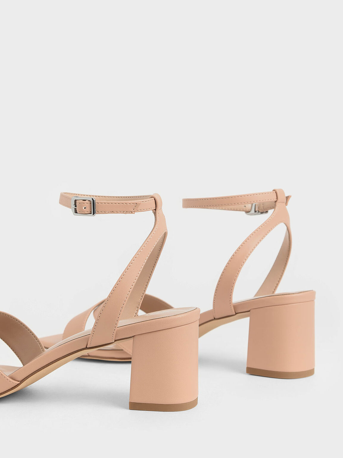 Criss Cross Block Heel Sandals, Nude, hi-res