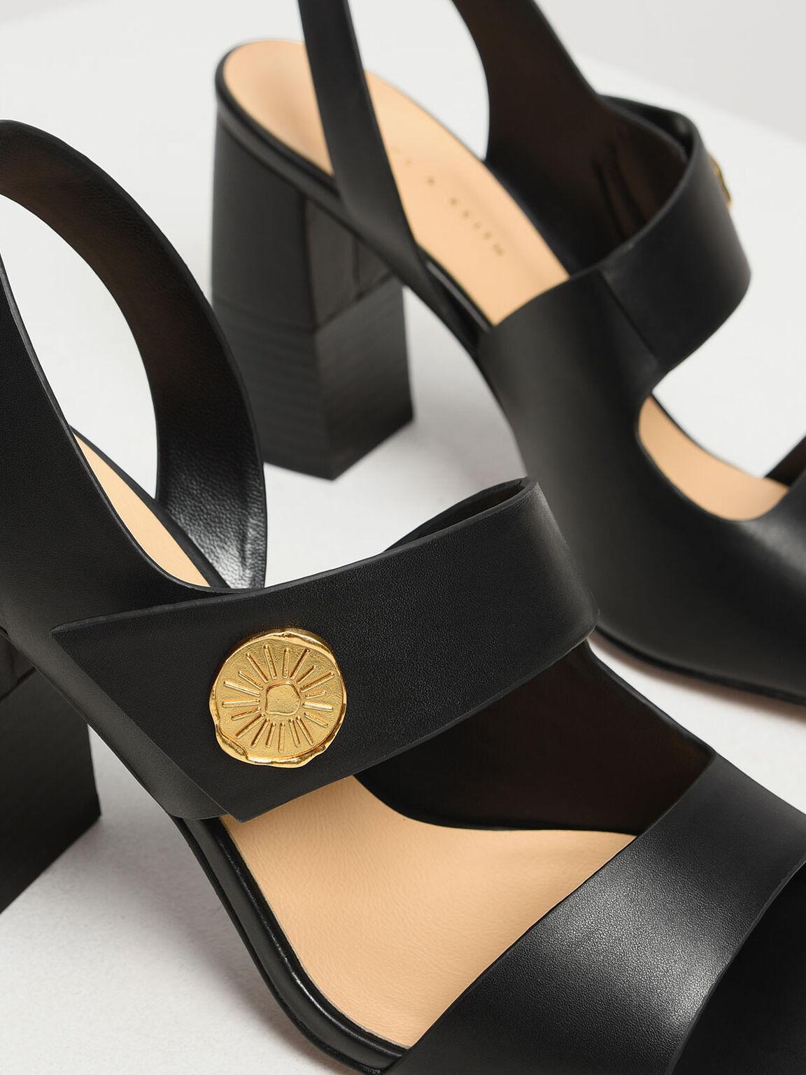 Asymmetrical Chunky Heel Sandals, Black, hi-res