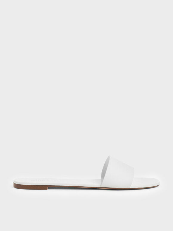 Dot Motif Slide Sandals, White, hi-res