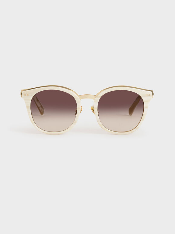 Acetate Frame Wayfarer Sunglasses, Cream, hi-res