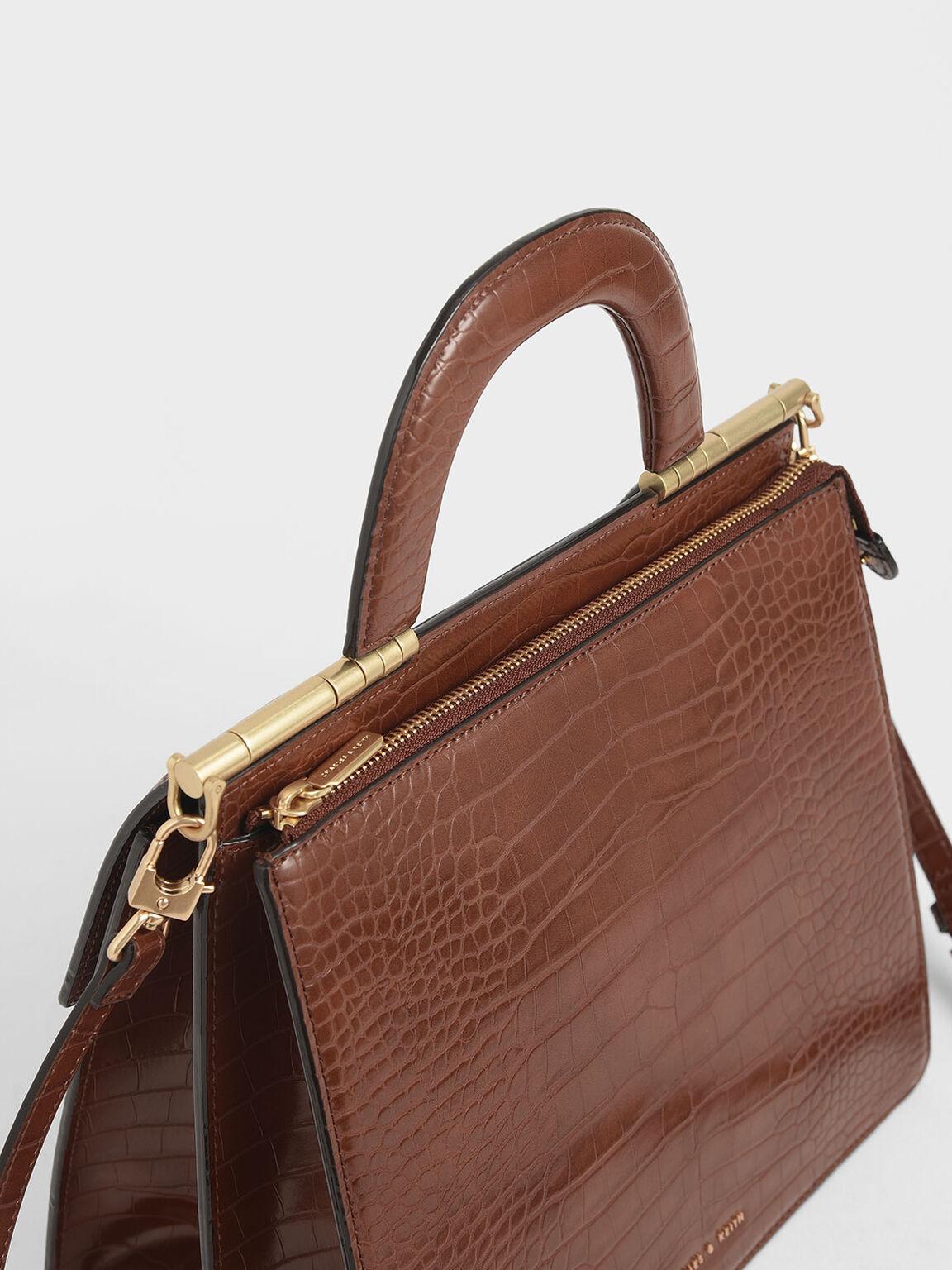 Croc-Effect Envelope Bag, Dark Brown, hi-res