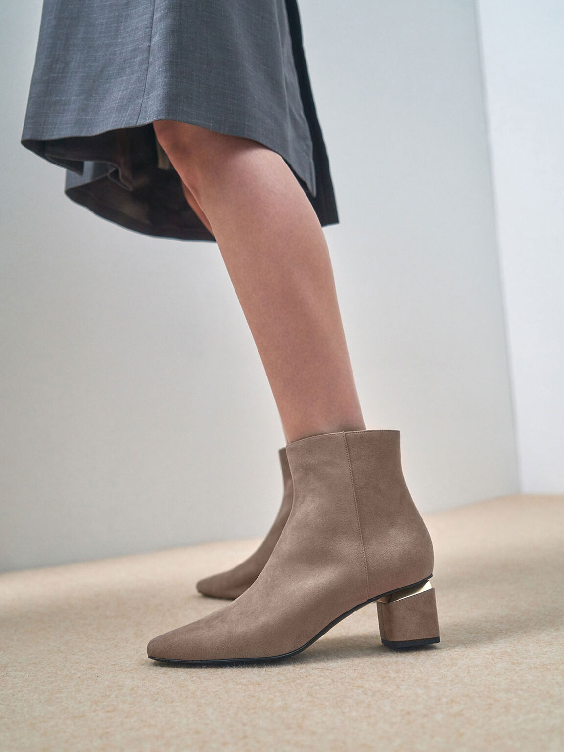 Textured Block Heel Ankle Boots, Taupe, hi-res