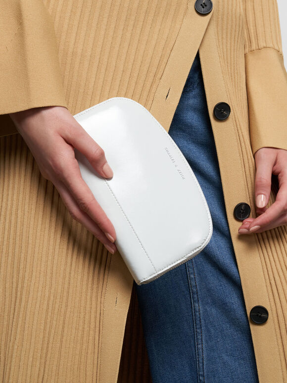 Curved Mini Long Wallet, White, hi-res