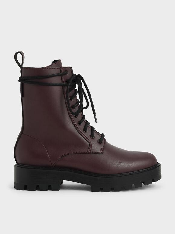 Lace-Up Calf Boots, Burgundy, hi-res