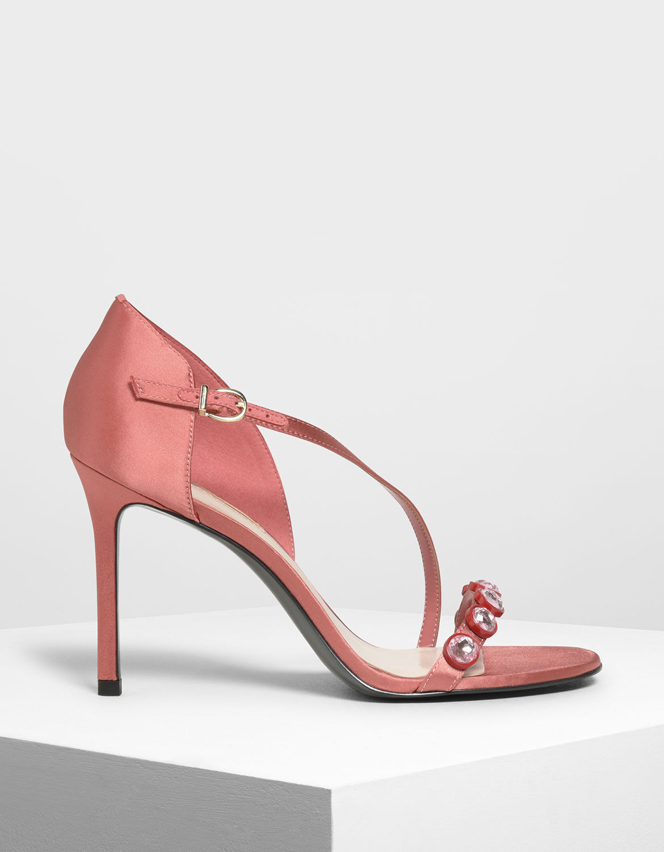 Coral Pink Embellished Strappy Heels
