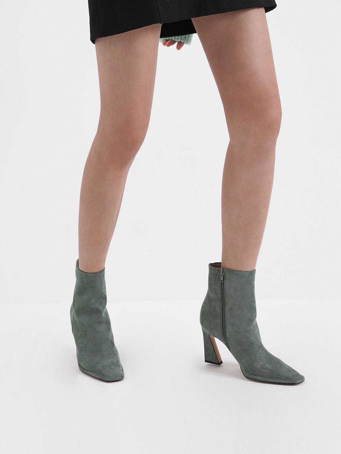 Textured Sculptural Heel Ankle Boots, Sage Green, hi-res