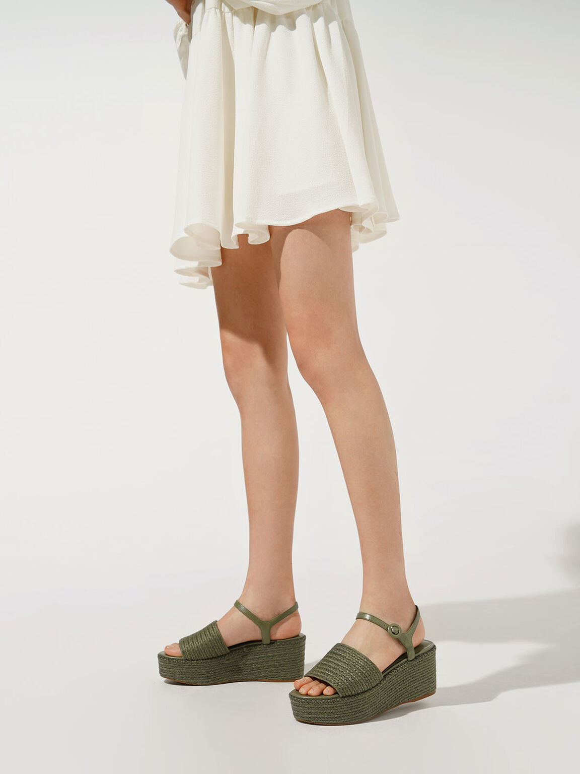 Espadrille Platform Sandals, Olive, hi-res
