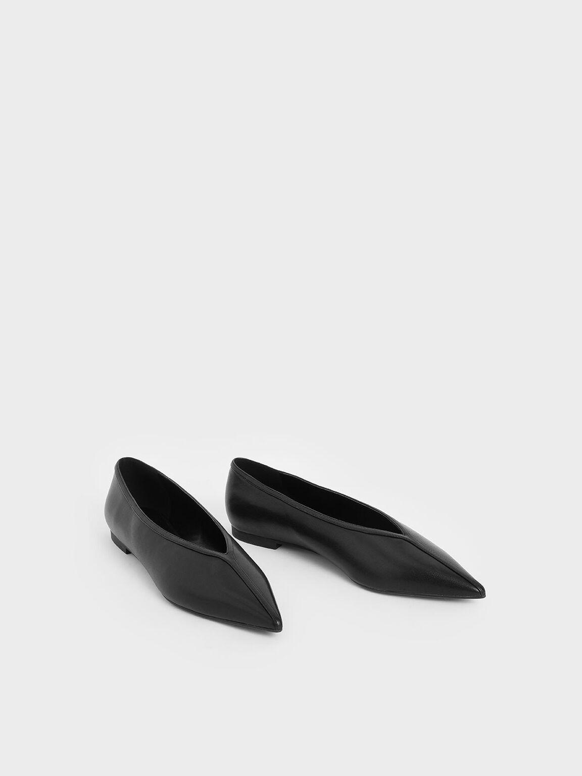 V-Cut Ballerina Flats, Black, hi-res