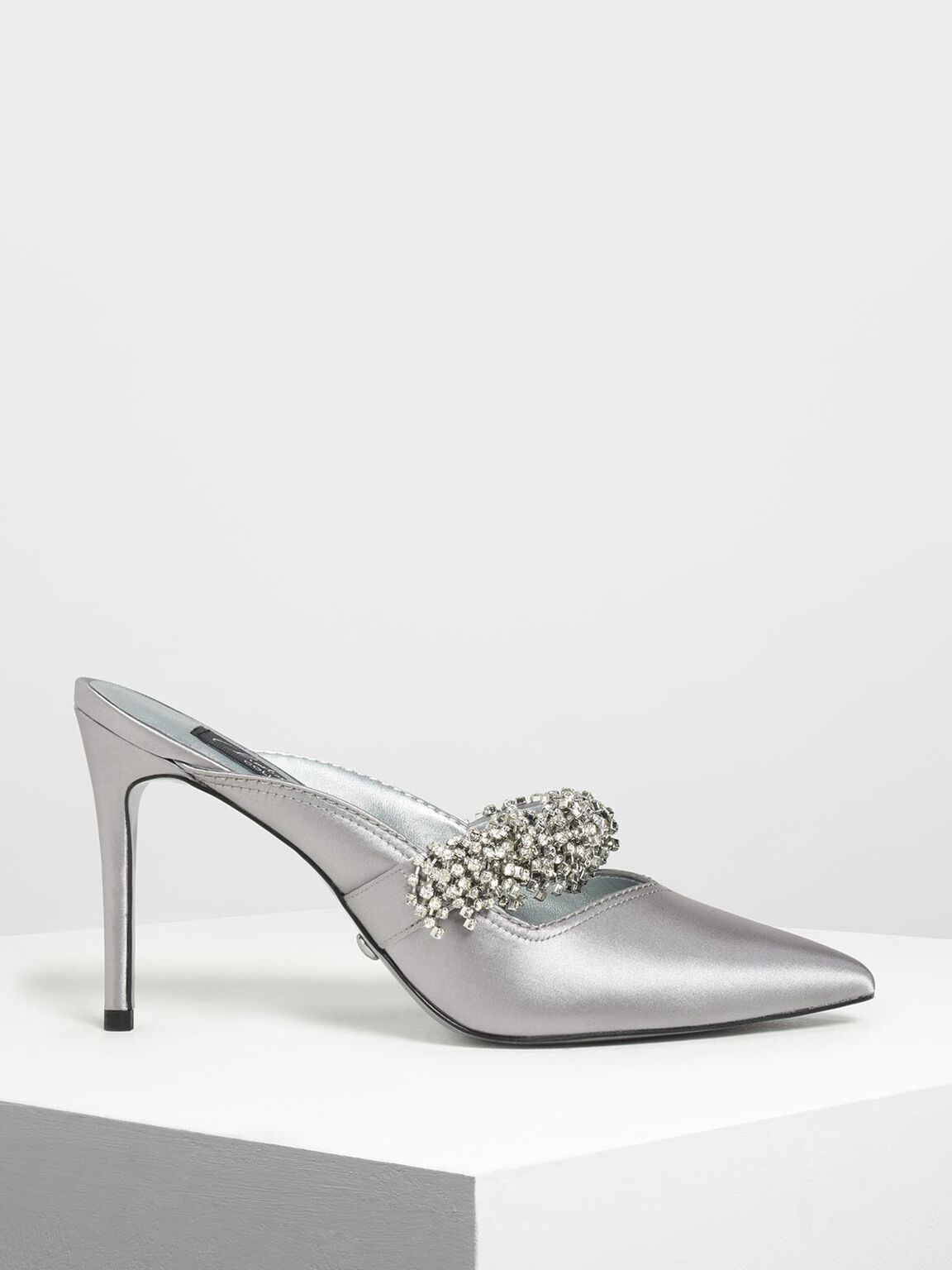 Embellished Satin Pointed Toe Heels, Pewter, hi-res