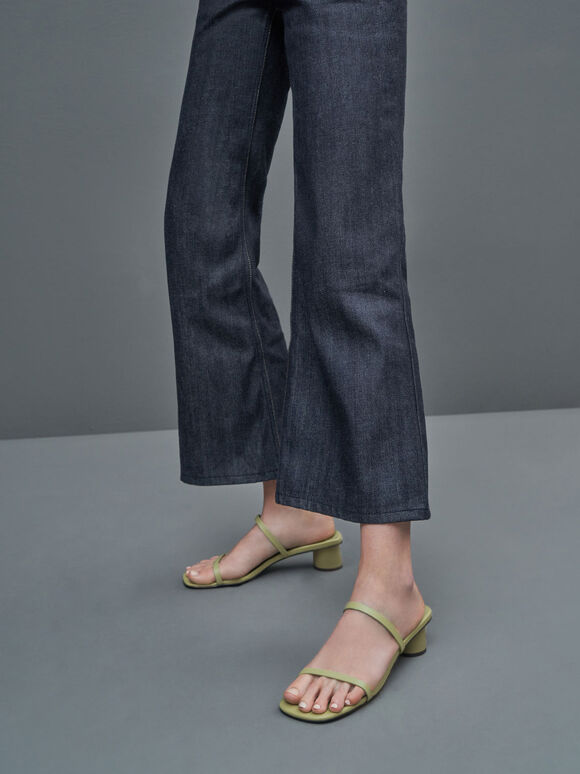 Double Strap Cylindrical Heel Mules, Sage Green, hi-res
