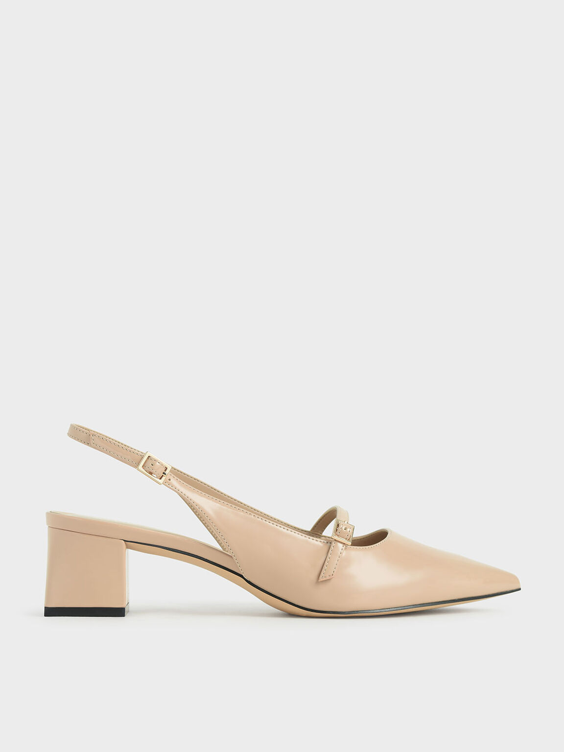Patent Mary Jane Slingback Pumps, Nude, hi-res