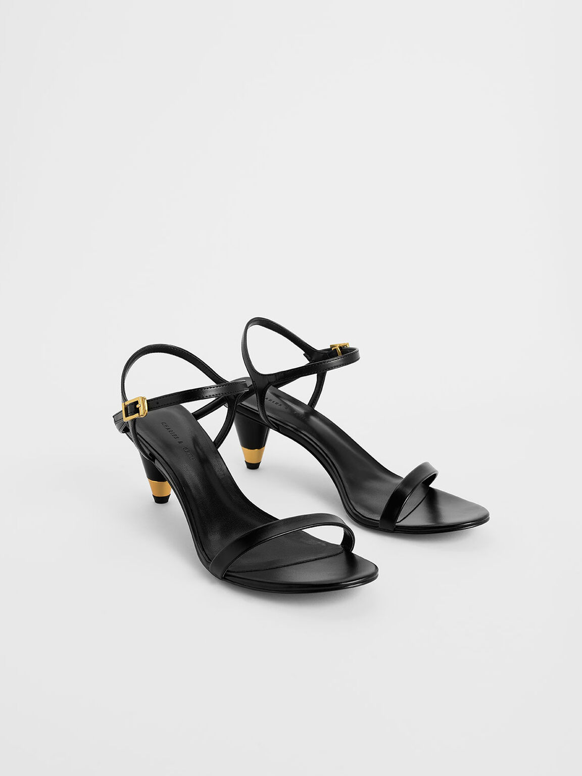 Gold Accent Cone Heel Sandals, Black, hi-res