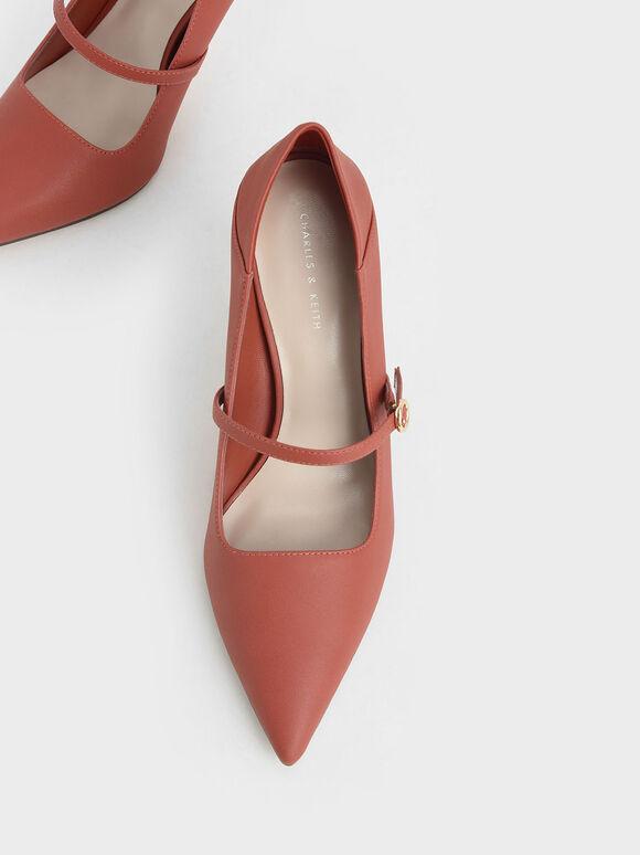Mary Jane Stiletto Court Shoes, Brick, hi-res