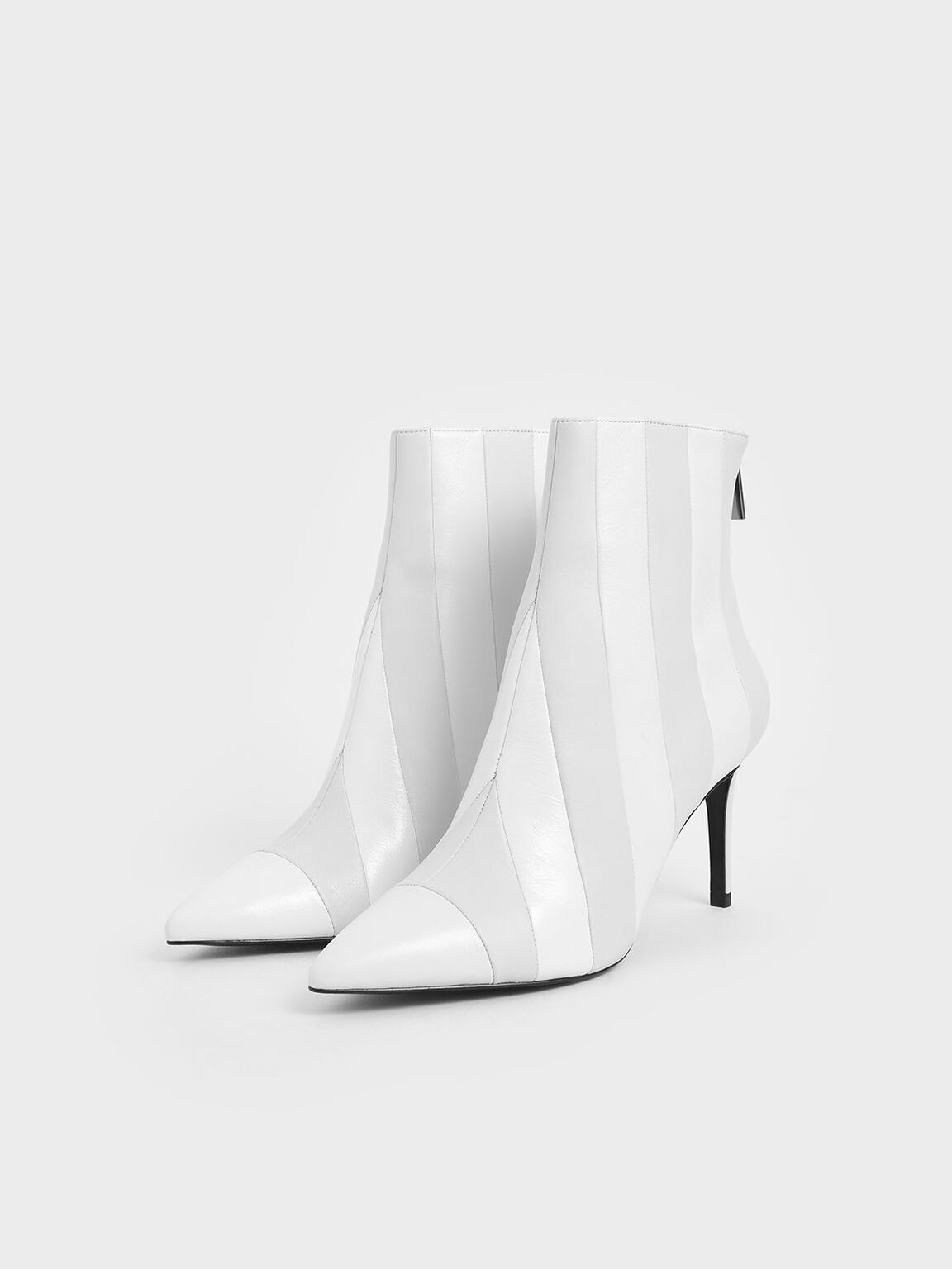 Leather Striped Ankle Boots, White, hi-res