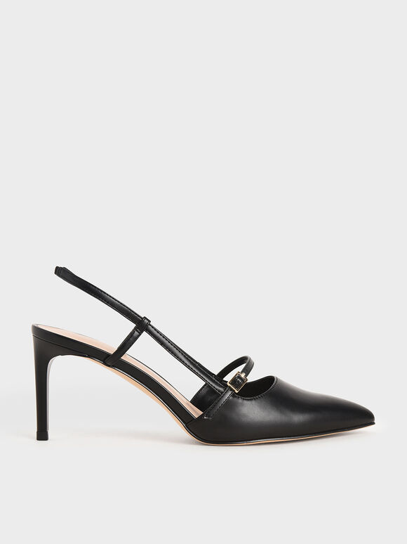 Mary Jane Slingback Pumps, Black, hi-res