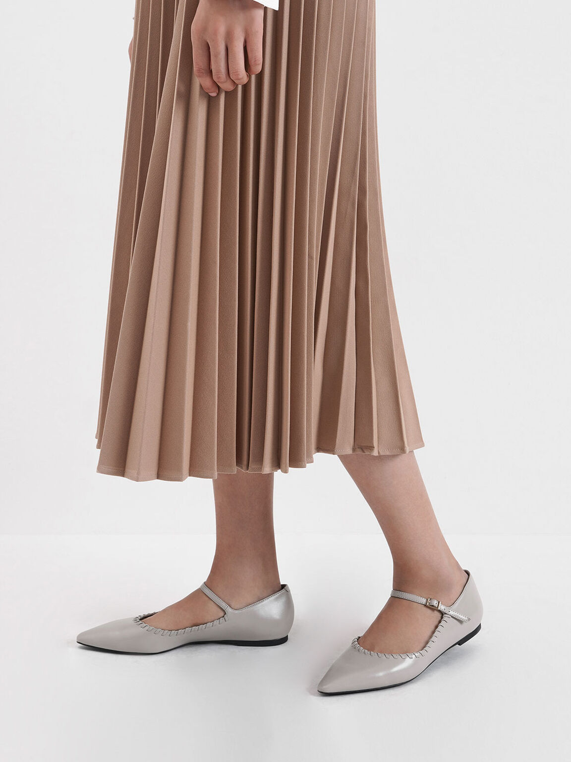 Whipstitch Trim Mary Jane Flats, Nude, hi-res