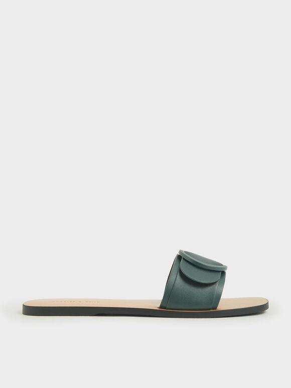 Buckle Strap Slide Sandals, Dark Green, hi-res